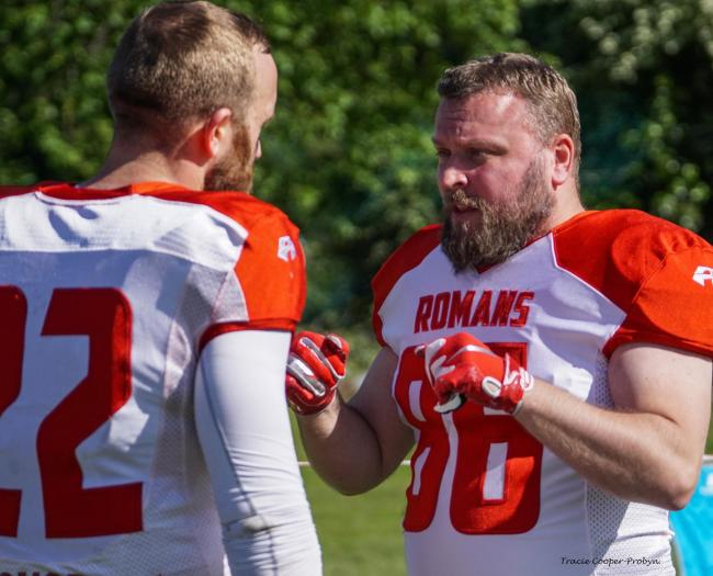 Wide Receiver James Sharrock of the Chester Romans