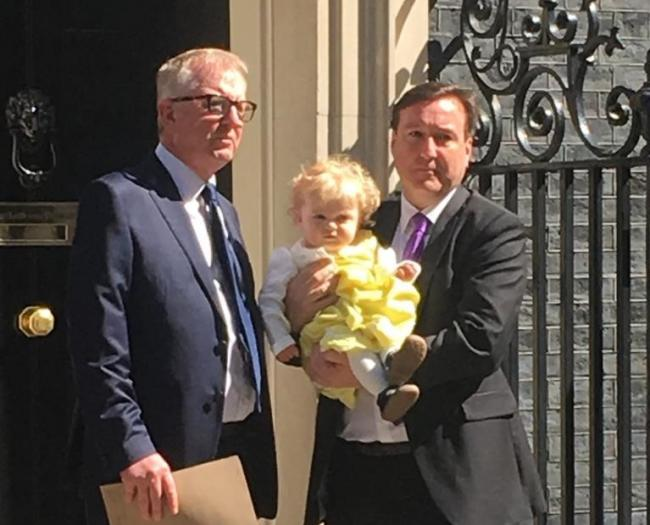 Chris Matheson MP with Eve outside Number 10, along with Ian Austin, MP for Dudley North.