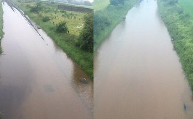 The railway line between Chester and Crewe is flooded. Photos by BTP.